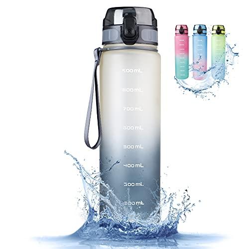 Botella de agua deportiva de 1 litro, a prueba de fugas, sin BPA, delgada, botella de agua de Tritán, botella de agua de ácido carbónico para bicicleta, gimnasio, yoga, exterior, camping