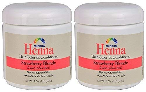 Rainbow Research Henna Strawberry Blonde Hair Color and Conditioner (Pack of 2) With Chamomile, 4 oz. each.