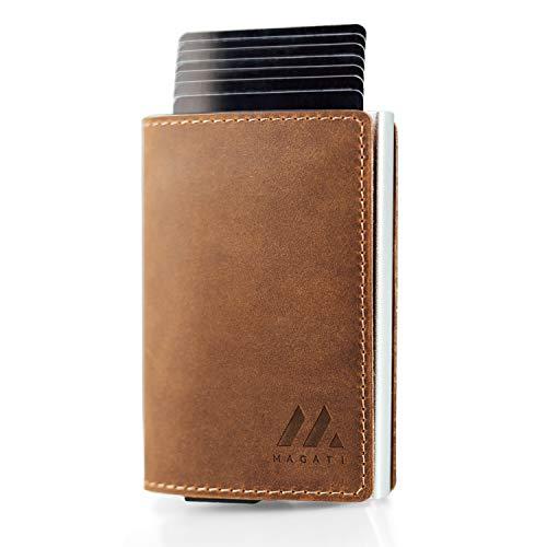 MAGATI Slim Wallet - Kreditkartenetui aus Echt-Leder mit Magnetverschluss, Fundservice, Geldscheinklammer und RFID-Schutzfunktion Dunkelbraun