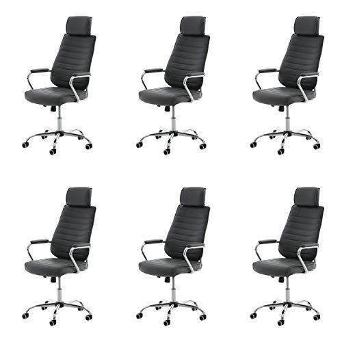 Lüllmann Rako V2 - Lote de 6 sillas de oficina giratorias, color gris