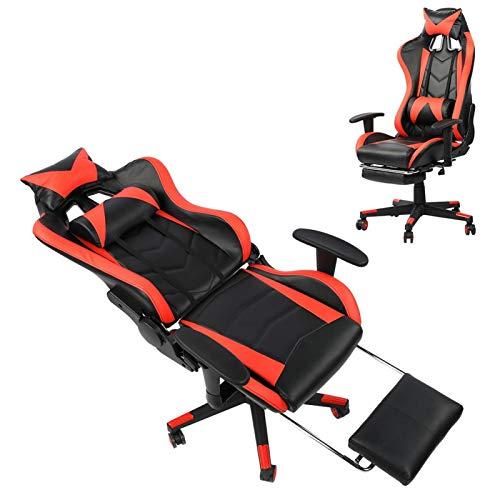 Cómodo cojín de cuero de PU, ruedas multidireccionales, silla ergonómica para juegos, silla de oficina con reposacabezas, reposapiés para adolescentes y adultos(Red black)