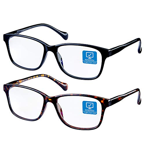 Blue Light Blocking Glasses 2 pack for Women/Men Computer Reading/Gaming/TV/Phones Glasses,Anti Eyestrain