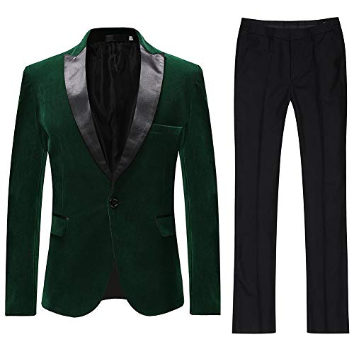 Heren Past 2 Stuk Pak Slim Fit Bruiloft Pak Tuxedos Velvet Casual Blazer One-Button Blazer Tuxedo Jassen Broek