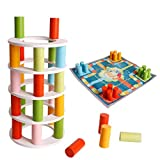 Wooden 2-in-1 Stacking Game Tower Flying Chess with dice Dumping Leaning Tower Toy Montessori Child and Adult Family...