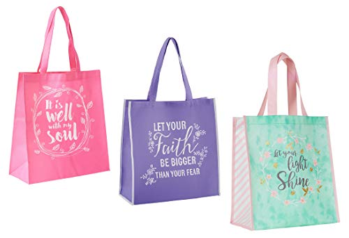 3 Religious Themed Inspirational Christian Tote Bags for Women   Matthew Verse, It Is Well With My Soul, Faith Theme   Reusable Totes Bundle Set for Church Events, Bible Study, Lightweight Items