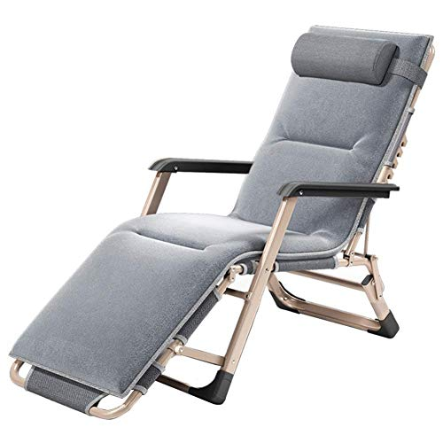 Patio Zero Gravity Chair Padded Recliner, Heavy Duty Adjustable Lounge Chair with Headrest - Supports 550Lbs (Gray)