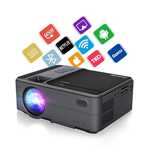 WIKISH Portable Bluetooth Projector,Wireless WiFi Projector Support Airplay 4D Keystone Zoom HDMI USB for Laptop PS4 Home Theater Outdoor Movie Gaming