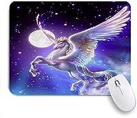 VAMIX マウスパッド 個性的 おしゃれ 柔軟 かわいい ゴム製裏面 ゲーミングマウスパッド PC ノートパソコン オフィス用 デスクマット 滑り止め 耐久性が良い おもしろいパターン (かわいい飛行ユニコーン馬月星背景テーマ画像)