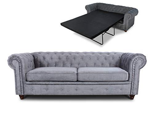 Schlafsofa Chesterfield Asti Bis 3-Sitzer, Sofa mit Schlaffunktion, Couch 3-er, Couchgarnitur, Sofagarnitur, Holzfüße, Polstersofa (Grau (Capri 09))