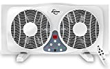 JPOWER 9 Inch Twin Window Fan With Remote, 3-Speed Reversible Air Quiet Flow and Thermostat Control,ETL Safety Listed
