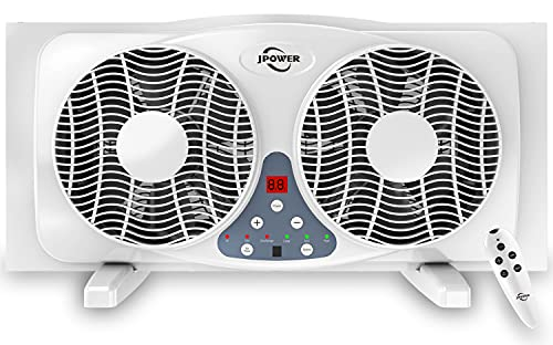 JPOWER 9 Inch Twin Window Fan With Remote, 3-Speed...