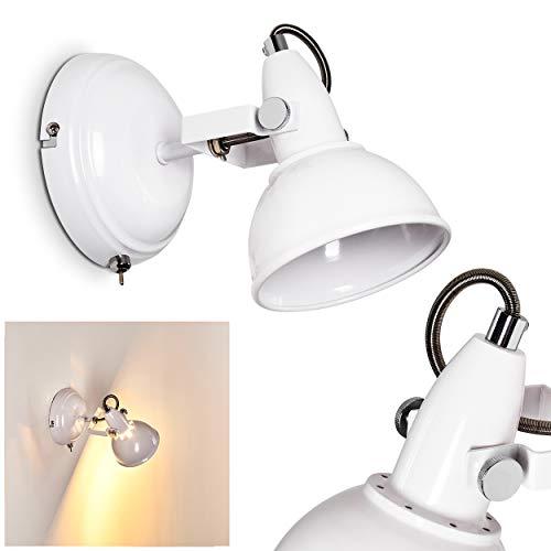 Wandlamp Tina, verstelbare wandlamp van metaal in wit, 1 vlam, 1 x E14 stopcontact max. 40 Watt, wandspot in retro/vintage uitvoering met aan/uit schakelaar op de behuizing, LED geschikt