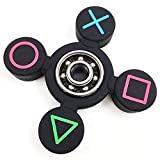 Hand Spinners Symbole Main Spinner Fidget Silicone Spinner métal Roulement EDC Doigt Spinner Main Soulage Stress Focus Jouets (Color : Black)