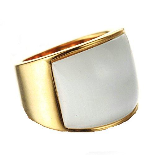 Blisfille Ring Gold 18K Ringe Damen Modeschmuck Gold Bar Punk Opal Rechteck Stein Ringgröße 62 (19.7) Weiß Zirkonia Gothic Retro Vintage Trauung Ring Für Mädchen