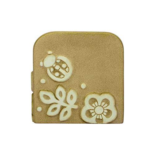 THUN® - Calendario Perpetuo in Legno da Tavolo - Base di Ceramica con Farfalla Bianca - Linea Prestige