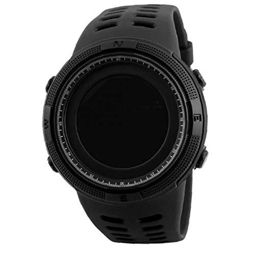 xiaocheng Reloj de los Deportes al Aire Libre para Hombre Negro electrónico Digital de Cuenta atrás de Lectura fácil con Cuero Brazalete Cronómetro Impermeable Ornamentos Lindos
