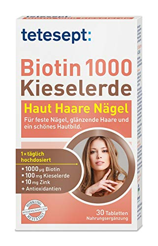 tetesept Biotin 1000 + Kieselerde – Nahrungsergänzungsmittel mit Zink für Haut, Haare & Nägel – 1 x 30 Tabletten
