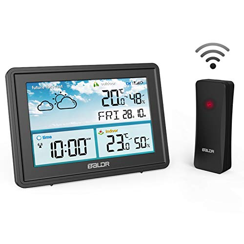 ROVLAK Meteo Stazione Senza Fili Digitale Termometro Igrometro Grande LCD Schermo Frost Attenzione Previsione Stazione Indoor All'aperto Temperatura umidità per Home Ufficio Vivaio (Nero)