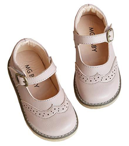 DADAWEN Girl's Classic Mary Jane School Uniform Shoes Flat Dress Shoes Light Pink US Size 7 M Toddler