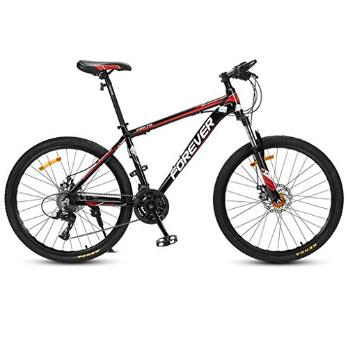 JLFSDB Mountain Bike,26 Inch Women/Men Bicycles,Carbon Steel Frame,Double Disc Brake and Front Fork,24 Speed (Color : Red)