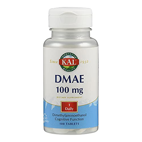 KAL DMAE   100mg   100 Tabletten   vegan   glutenfrei   ohne Gentechnik   laborgeprüft   Nahrungsergänzungsmittel mit DMAE,Vorstufe von Cholin   Übertragung von Nervensignalen   normale Gehirnfunktion