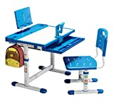 BOJOY Kids Desk and Chair Set, Height Adjustable School Student Desk, Children Writing Study Table with Bookstand, Drawer Storage, 45°Tilted Desktop, Pencil Case (Blue)