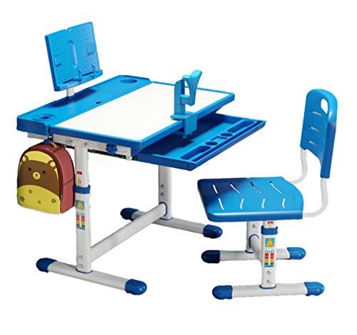 BOJOY Kids Desk and Chair Set, Height Adjustable School Student Desk, Children Writing Study Table with Bookstand, Drawer Storage, 45°Tilted Desktop, Pencil Case (Blue)
