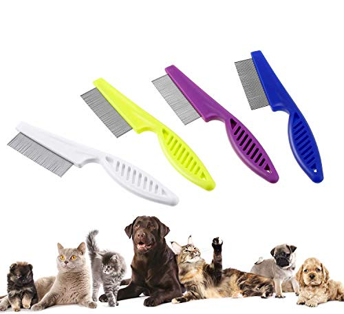 ZheJia Random Color Dirt Metal Teeth Removal Combs Safe Stainless Steel Clean Lice Crust Tangles Knots Flea Tear Stain Remover Comb 1 Pieces Pet Dogs Cats Grooming Tool