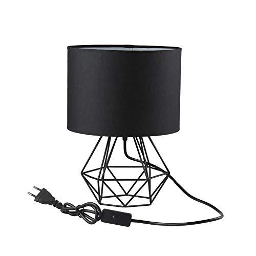 FRIDEKO HOME Vintage Tischlampe - 20cm DIY Tischleuchte Modern Körbchenstil Stil Kreativer für Schlafzimmer Nachttischlampe Arbeitszimmer Office [Verbesserte Version] Schwarz