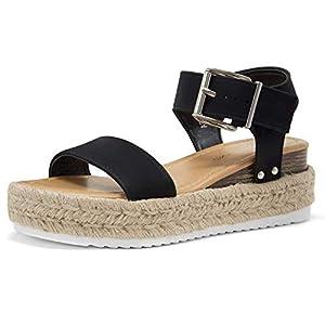 Shoe Land ALYSA Womens Open Toe Ankle Strap Platform Wedge Shoes Casual Espadrilles Trim Flatform Studded Wedge Sandals Black 8.0