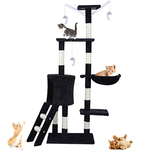 Blackpoolaluk Multi Cat Tree Stable Cat Scratch Posts Function Cat Climbing Tower Toys with Cat Home for Indoor/Outdoor Cats Activity (150cm - Grey)