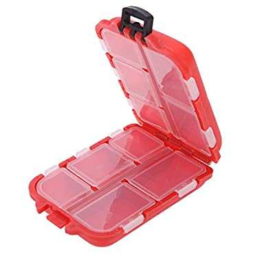 QKP Fishing Tackle Box 10 Compartments Small Size For Fishing Hooks Swivels Beads Etc Red