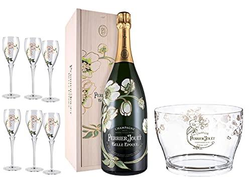 Perrier Jouët Luxury Set -Belle Epoque- 2013 Magnum + 6 Flutes in cristallo firmati dalla Maison + Esclusivo Cestello Ghiaccio Firmato