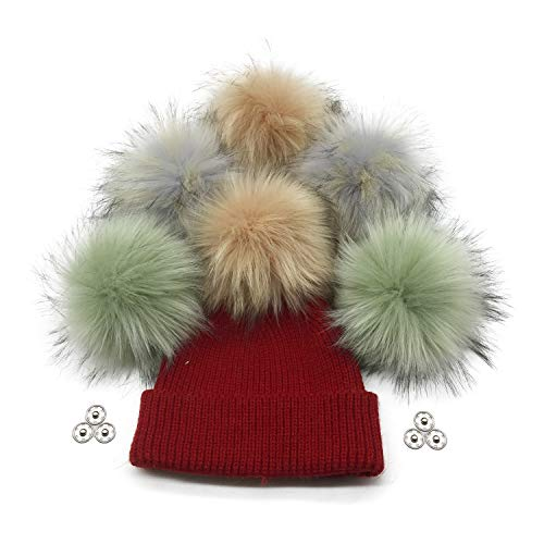 Furryvalley Faux Fur Pompom 6pcs DIY Crafts Fluffy Balls for Hat Shoes Scarves with Snap Fastener Removable Knitting Hat Accessories 6 Inch Extra Large(3 Popular Mix Colors)