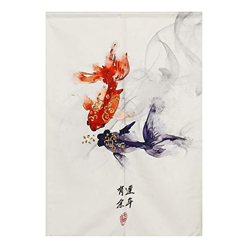 "BAIHT HOME Japanese Noren Doorway Curtain Traditional Chinese Fortune Fish Pattern Door Curtain, 33"" x 47"""