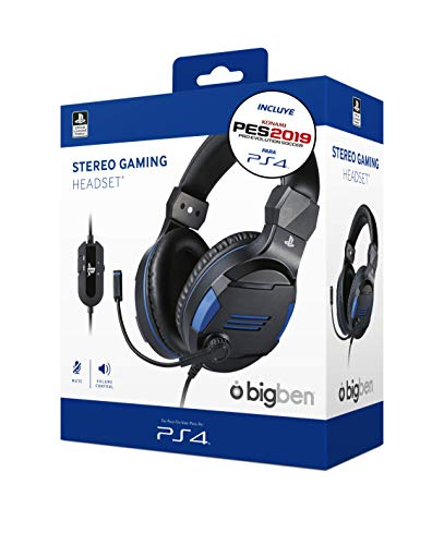 Sony Oficial - Auriculares Gaming Stereo, color negro + PES 2019 (PS4)