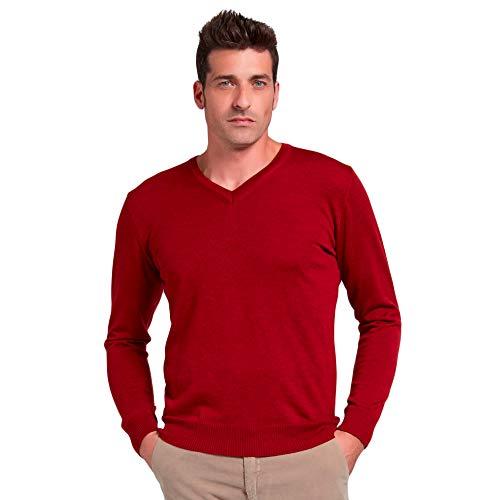 Brunella Gori Maglione Pullover Uomo Scollo V in 100% Merino Extrafine Colore Rosso Taglia XL