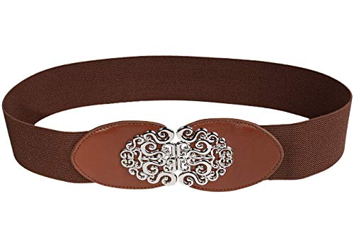 Modeway Womens 1.5' Wide Silver Buckle Retro Style Stretch Elastic Cinch Belt (XL-XXL(34-38inch), Brown)