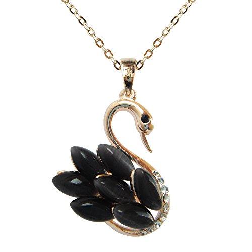 Navachi - Basismetall, vergoldet mit 18 kt Marquiseschliff schwarz Opale