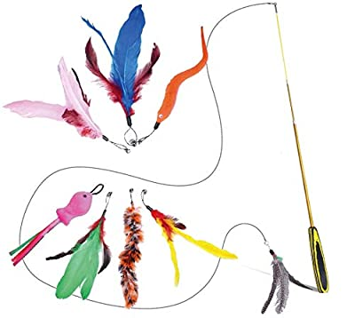 FurDreams Cat Toy, Retractable Interactive Bird Feather Pet Teaser, Wand with String Fishing Rod with 8 Colourful Feathers & 2 Spare Hooks for Play, Exercise, Activity & Fun