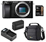Sony Alpha A6100 Mirrorless Digital Camera, Body Only (Black) Basic Bundle with Bag, Extra Battery, Smart Charger, 32GB SD Card