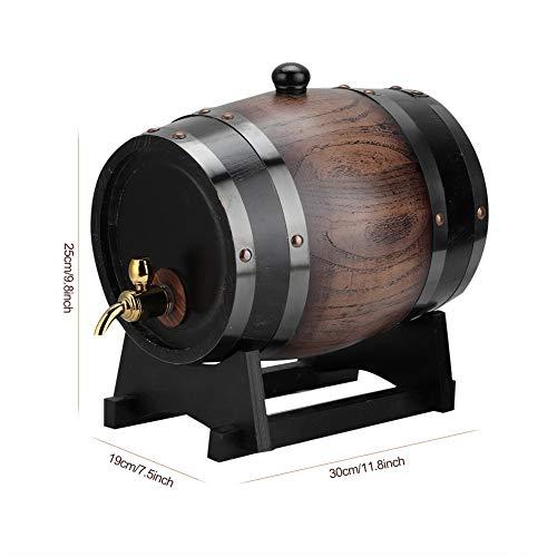 3L houten vat met kraan, vintage gestreept eiken wijnbiervat voor huishoudens, café, theehuis, restaurant, hotel, vat voor rode wijn, brandewijn, whisky, tequila