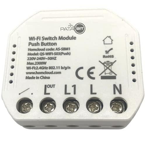 PATABIT Pulsante Wifi Alexa Luci | Modulo Rele Domotica 220V Smart Home Per Luci Casa Intelligente Interruttore Wifi A Pulsante Compatto Per Scatola 503