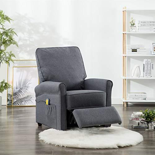Festnight Elektrischer Massagesessel Elektrisch mit Wärmefunktion Massage Fernsehsessel Relaxsessel TV Sessel Relaxliege Liegesessel Dunkelgrau Stoff