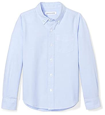 Amazon Essentials Kids Boys Uniform Long-Sleeve Woven Oxford Button-Down Shirts, Blue, X-Small