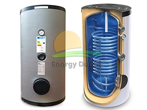 Hervidor de acumulación vitrificado, 200 l, 2 intercambiadores fijos para la producción de agua caliente, sanitaria, solar térmica, integración de caldera.
