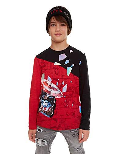 Desigual T-Shirt ENRIC Maglietta a Maniche Lunghe, Rosso (Carmin 3000), 14 Anni Bambino