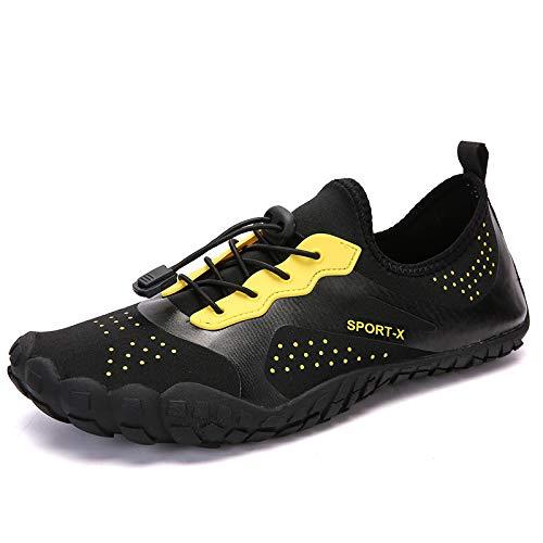 DARE Men's Barefoot Shoes - Big Toe Box - Minimalist Cross Training Shoes for Men (10 UK) Black Yellow