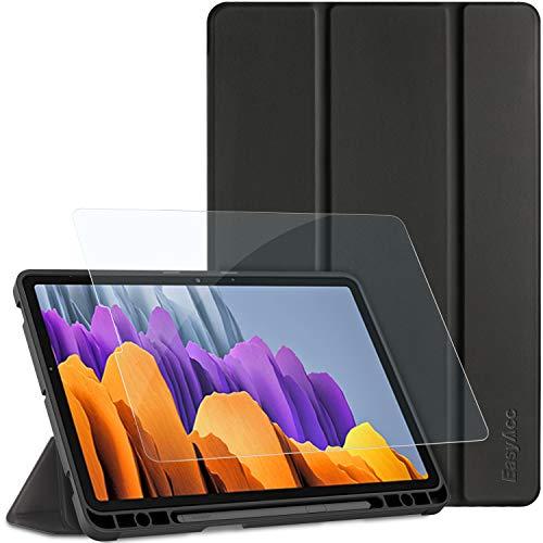 EasyAcc Custodia Compatibile con Samsung Galaxy Tab S7 2020 con Vetro Temperato -Ultra Sottile con Cover Leggero Supporto in Pelle PU Case per Tablet Compatibile con Samsung Galaxy Tab S7 2020,Nero