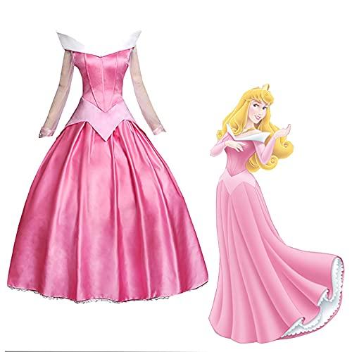 Aurora Cosplay Kostum Damen Anime Lolita Pink Lange Ärmel Prinzessin Kleider mit Umhang Sexy Ballkleider Kleid für Fasching Halloween A,XL